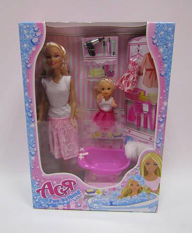 Набор с куклой Асей  'Веселое купание' 28 см блондинка и маленькой куклой 11 см
