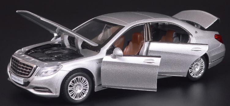 Коллекционная машинка Mercedes-benz S-сlass 222 серая металлическая модель в масштабе 1:32
