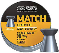 Пули пневматические JSB Match Diabolo Middle Weight 4,49 мм (0,52 г.) 500 шт.