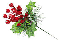 Декоративная ветка из красных ягод и листьев 17.5см (128-114)