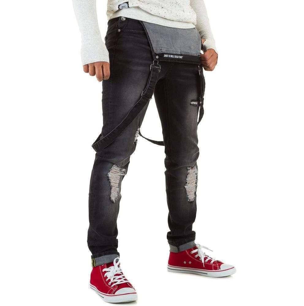 Рваный мужской джинсовый комбинезон Sixth June (Франция), Черный