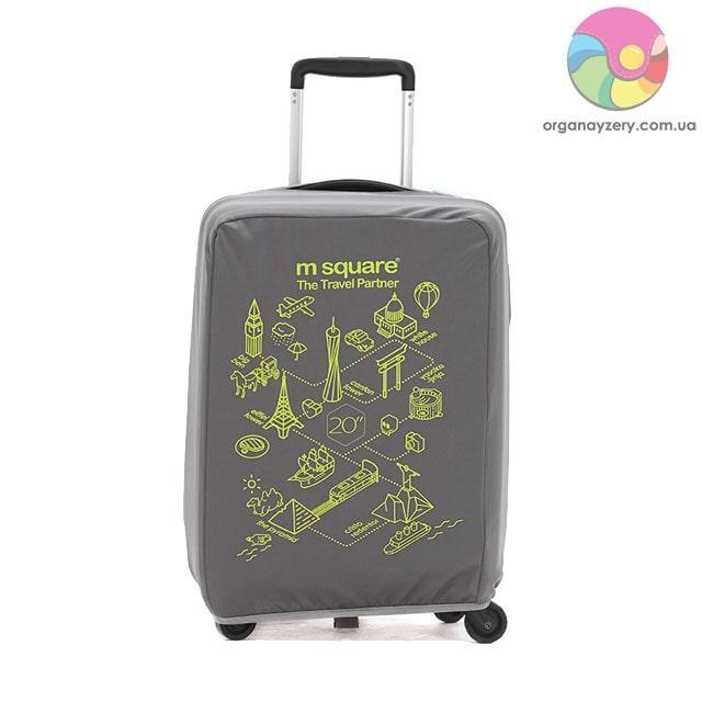 Чехол на чемодан (S) (серый с принтом)