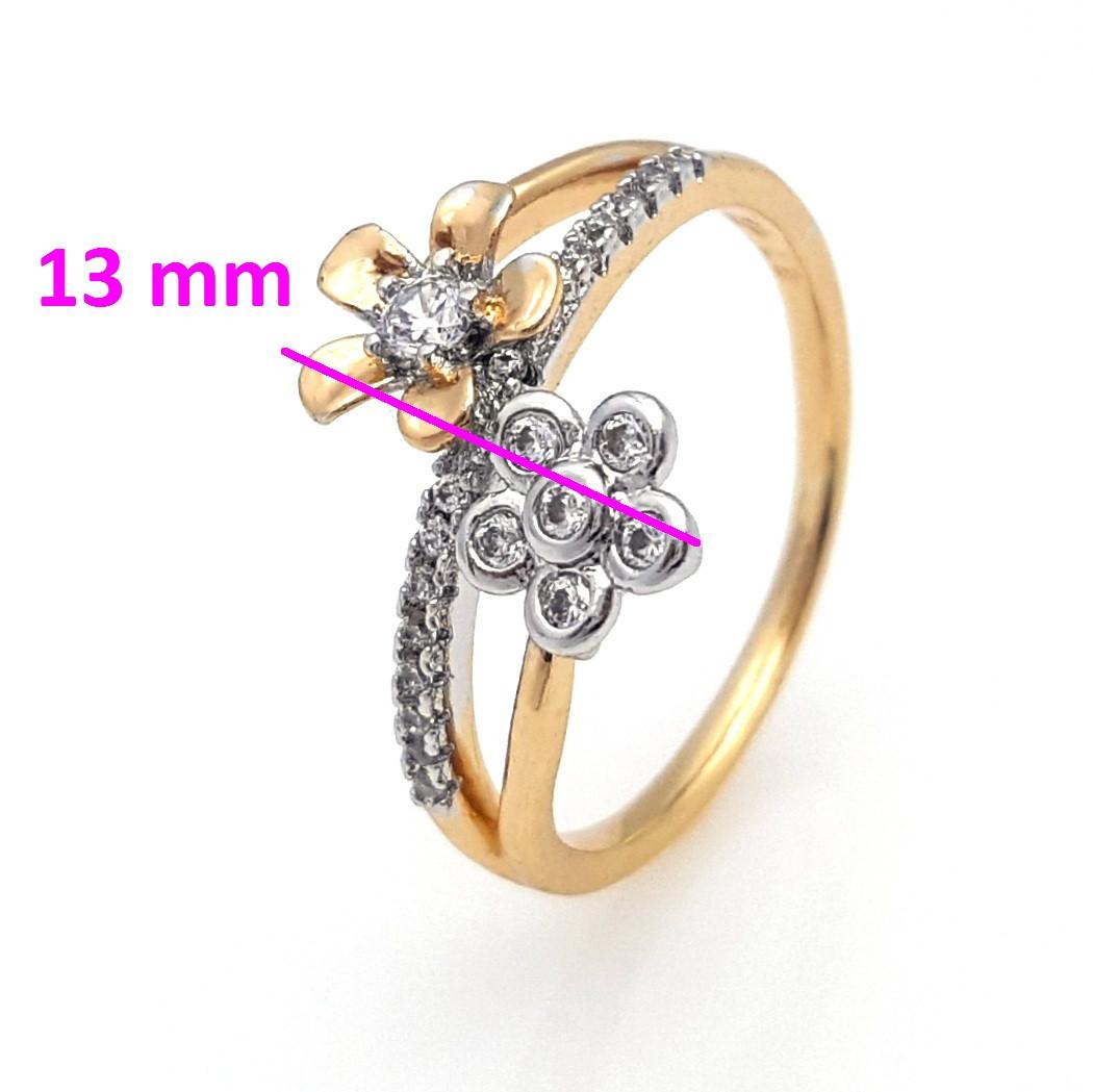 Кольцо Два Цветка, с цирконием, р.17, р.17,5, р.18,19,5 позолота+родий