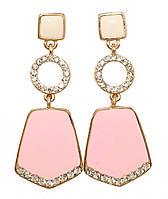 Серьги гвоздики.Камни:фианиты белого цвета и розовая с белой эмаль.Цвет:позолота. Длина: 5,5 см. Ширина: 22 мм