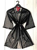 Прозрачный черный халат микросетка