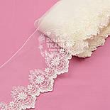 Кружево с шёлковой вышивкой по одному краю, цвет молочный, ширина 13 см, фото 3