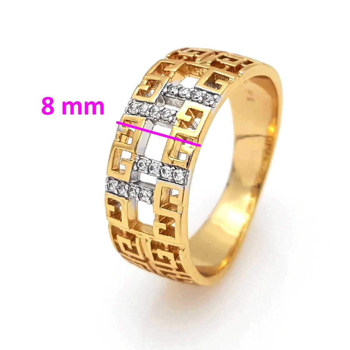 Кольцо  с Греческим узором, россыпь камней, р.17, р.18, р.18,5, р.19,5, позолота+родий