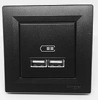Розетка USB 2,1A Антрацит Asfora Schneider, EPH2700271, фото 1