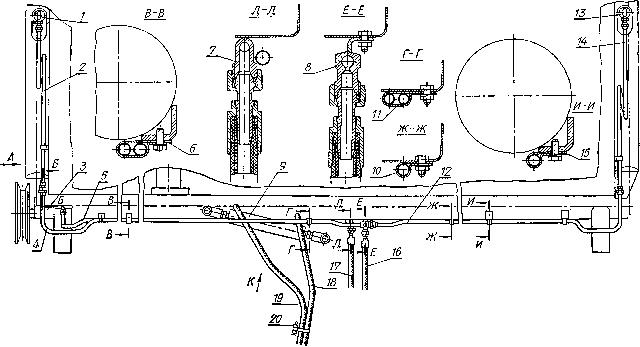 Размещение гидрооборудования на валковой жатке ЖВН 6-12