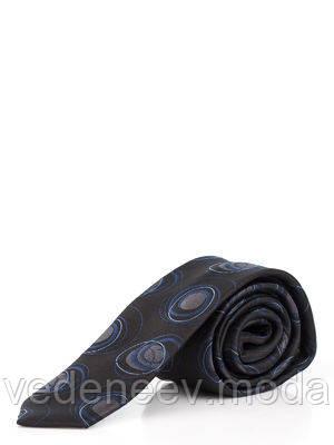 Галстук узкий черный в абстрактные серо-синее круги