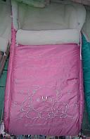 """Детский конверт на овчине """"Три Мишки"""" в коляску или санки. Розовый"""