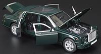 Коллекционная машинка Rolls Royce Phantom зеленая металлическая модель в масштабе 1:32, фото 1