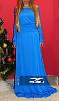 Вечернее платье в пол с декольте вырезом на спине спадающее по плечам