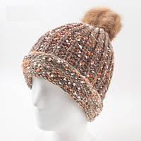 Женская шапка с большим коричневым помпоном розовая опт, фото 1