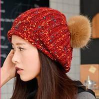 Женская шапка красная с большим коричневым помпоном опт, фото 1