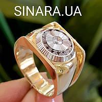 Мужской золотой перстень в лимонном золоте - Роскошное мужское золотое кольцо с цирконами