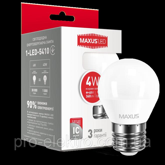 LED-лампа MAXUS G45 F 4W яркий свет E27 (1-LED-5410)