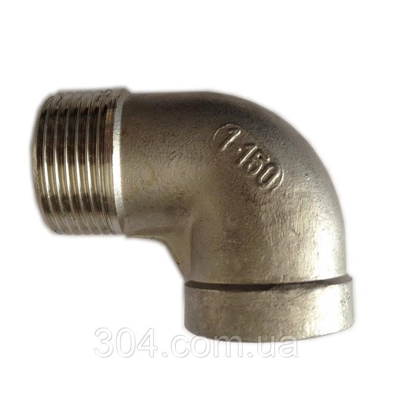 Отвод резьбовой нержавеющий Ду15(1/2 дюйма), 90° AISI 304