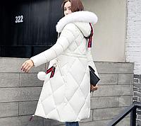 Длинное зимнее женское пальто..Женский пуховик.Арт.01169
