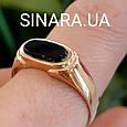 Золотая мужская печатка с ониксом - Мужское золотое кольцо с ониксом, фото 4