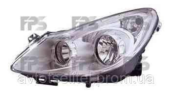 Фара передняя для Opel Corsa D 06-11 левая (VALEO) хромированный отражатель под электрокорректор