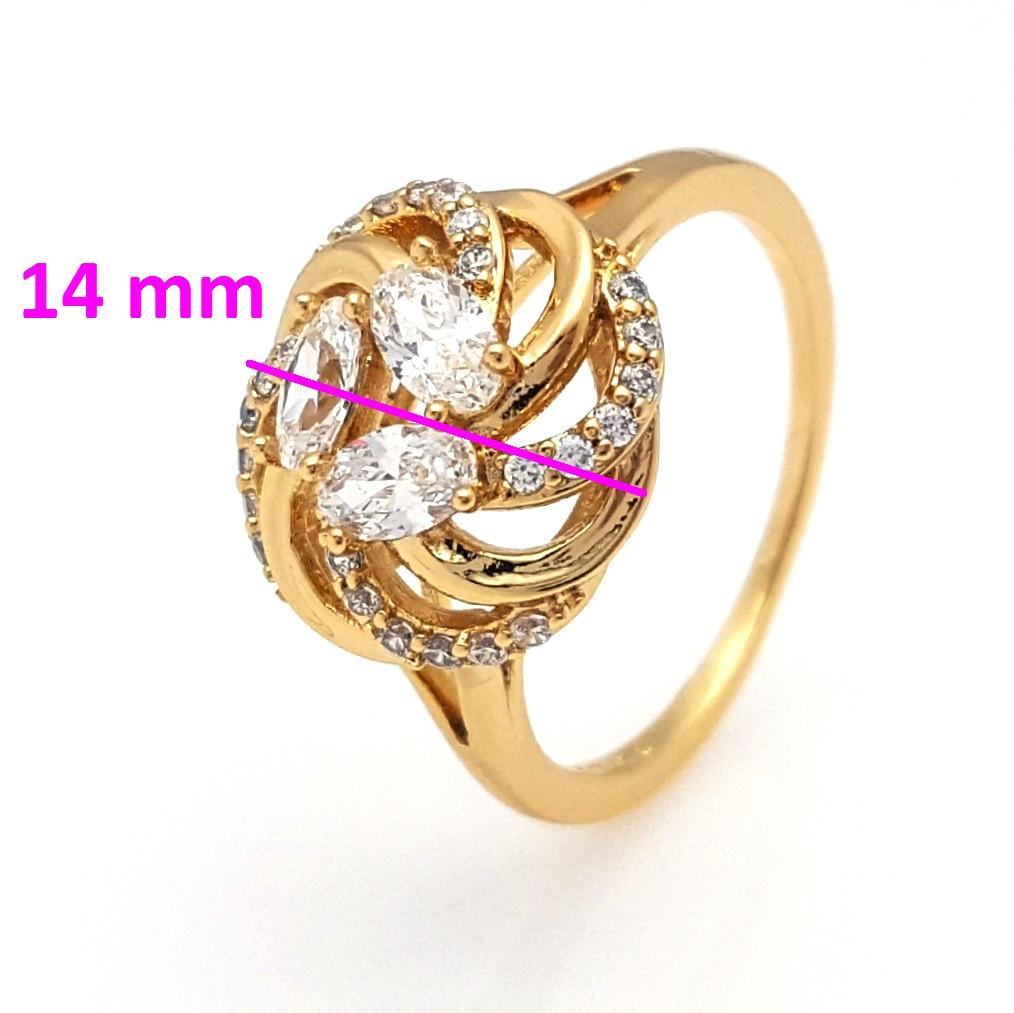 Кольцо  позолоченное 741820 Кружевной  Цветок, с овальным цирконием,р. 17, р.17,5, р.18, р.18,5, р.19 позолота