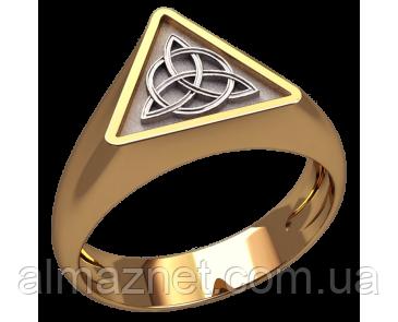 Золотой перстень Трикветр в кругу