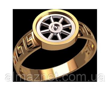 Золотой перстень 585 пробы Славянский символ 5