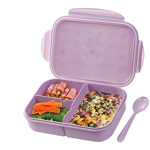 Контейнер для завтрака ланч-бокс BENTO с 3-мя отсеками, без BPA безопасный сиреневый