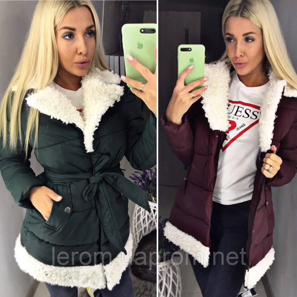 Стильне тепле пальто 2018/19 з хутром, різні кольори