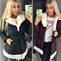 Стильное теплое пальто 2018/19 с мехом, разные цвета