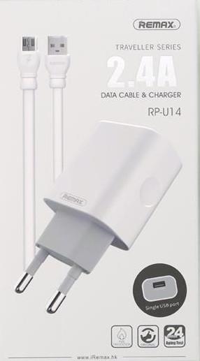 Сетевое ЗУ Remax Traveller series USB Data Cable RP-U14 [RP-U14MICRO-WHITE]