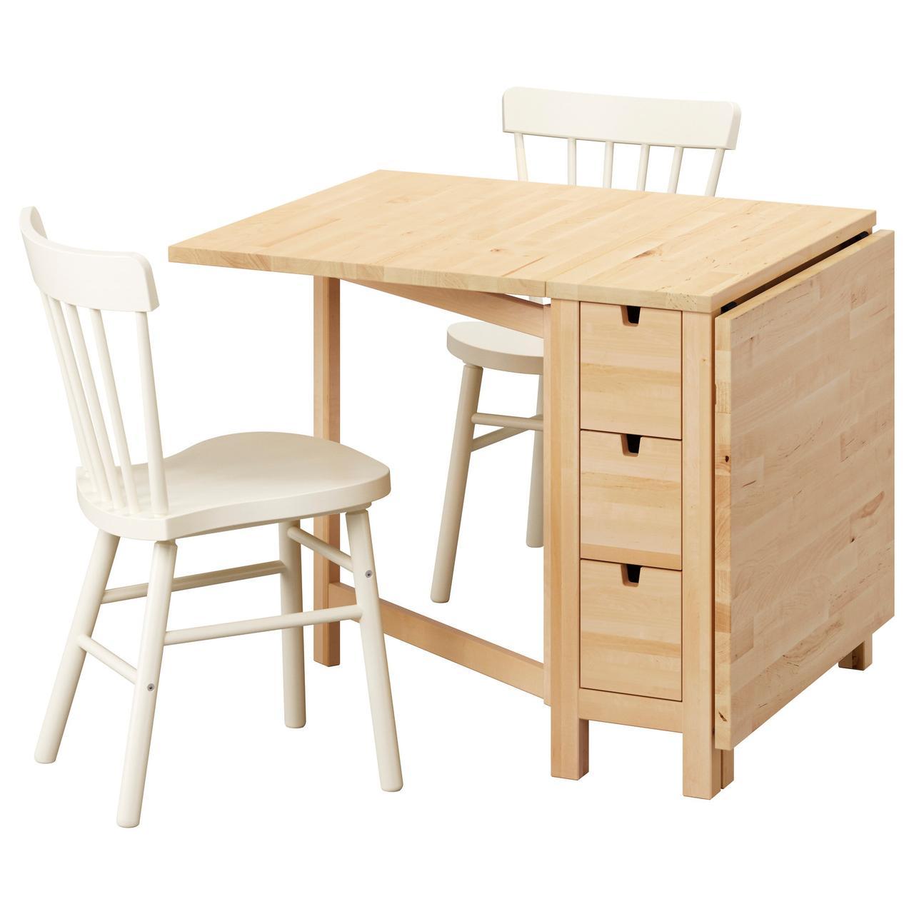 Обеденный комплект IKEA NORDEN / NORRARYD 89 см стол и 2 стула береза белый 592.291.71