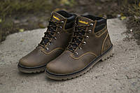 Ботинки Timberland мужские зимние, очень теплые, натуральный мех и кожа (коричневые)