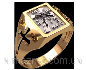 Перстень из золота 585 пробы Православный