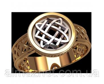 Золотой перстень 585 пробы Славянский символ 17