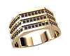 Перстень из золота с камнями в три ряда