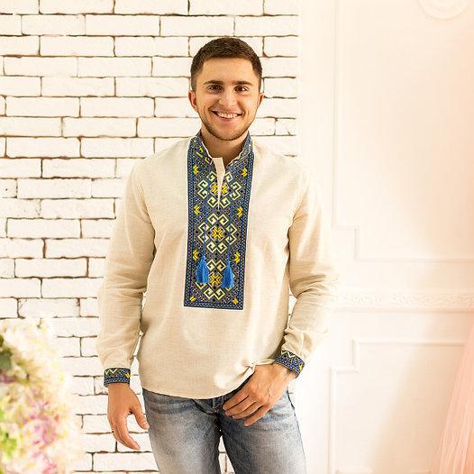 Мужская рубашка с разноцветной вышивкой на льне