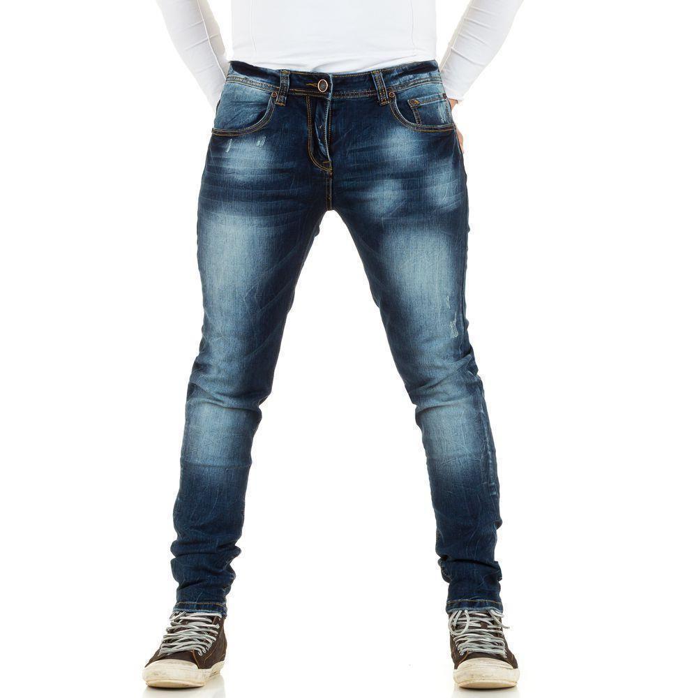 Узкие джинсы мужские потертые Original Ado (Франция), Синий