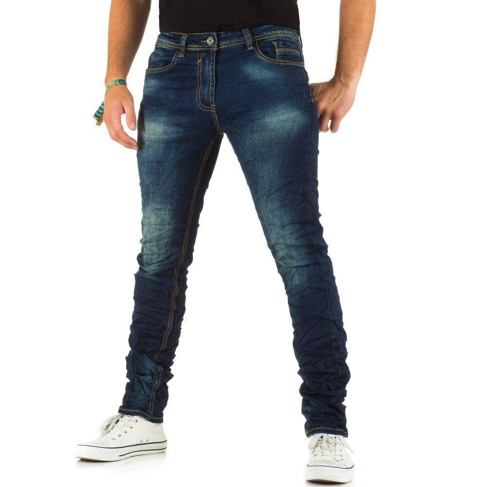 Мятые узкие джинсы мужские N&G 79 (Европа), Синий