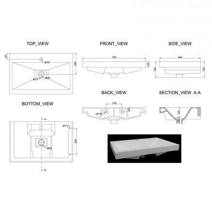 Раковина подвесная Graphics 1010126, фото 2
