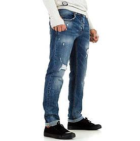 Джинсы мужские прямые с рваным эффектом Y.Two Jeans (Италия), Синий