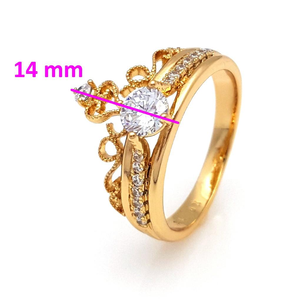 Кольцо позолоченное, Ажурная Корона, с цирконием, р.17, р.18, р.18,5, р.19,