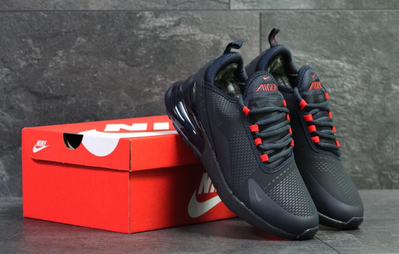dcfe2b71 Мужские кроссовки Nike Air Max 270 зимние повседневные на меху спортивные  кожаные (синие),