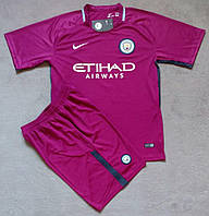 Детская футбольная форма Манчестер Сити основная сезон 2017-2018 (фиолетовая), фото 1