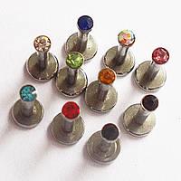 Микроштанга интернал для пирсинга губы, лабрета 6 мм. Медицинская сталь, кристаллы., фото 1