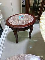 Кофейный столик овальный дерево+ мрамор 231Е