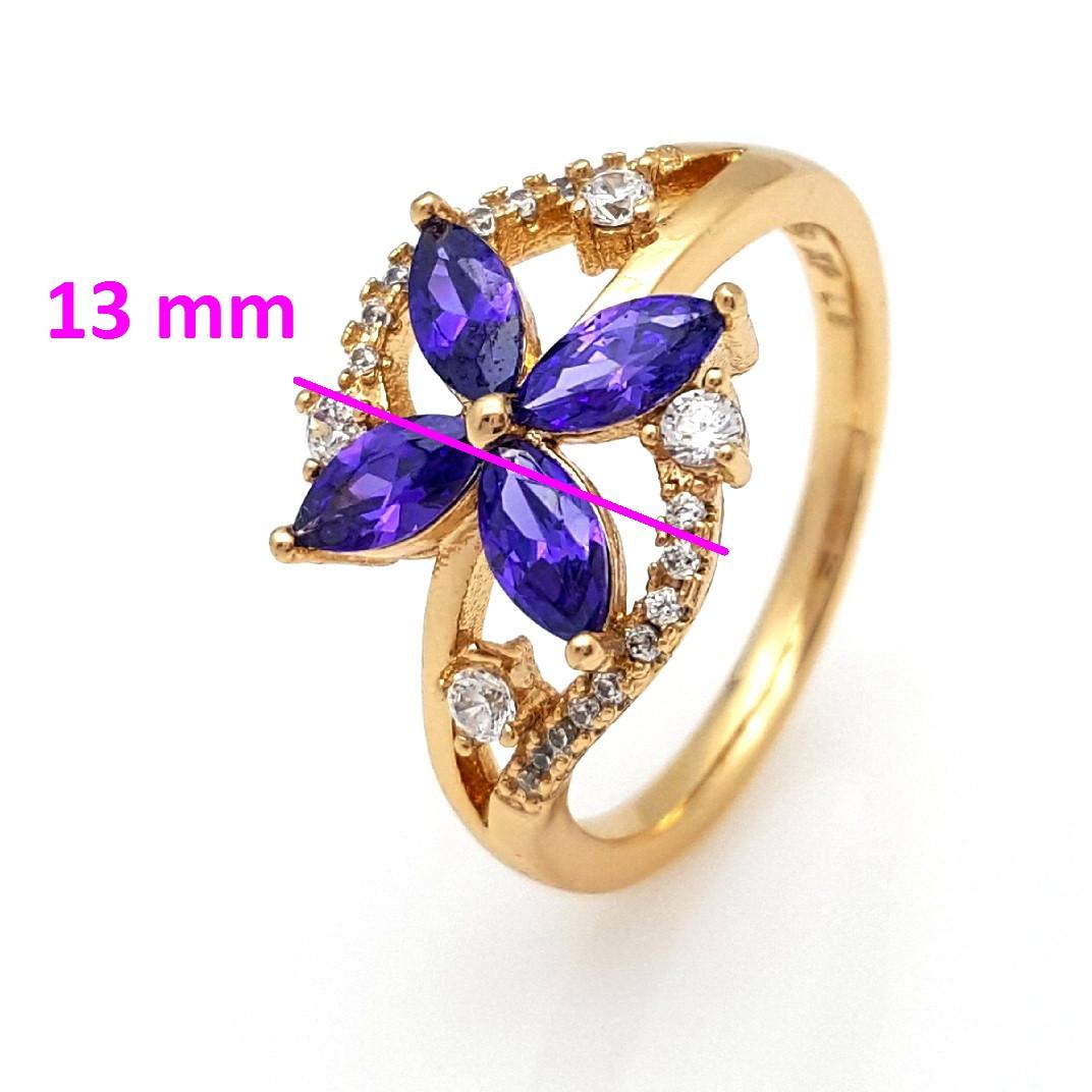 Кольцо Цветок, с фиолетовым цирконием, р.17,5, р.18,5, позолота