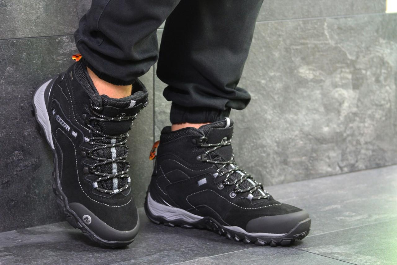 Ботинки мужские Merrell замшевые осень качественные удобные теплые (черные), ТОП-реплика