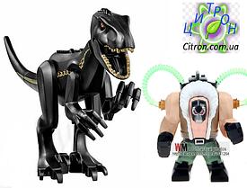 Динозавр индораптор большой черный и большая фигурка  Длина 27 см. Аналог Лего. Конструктор